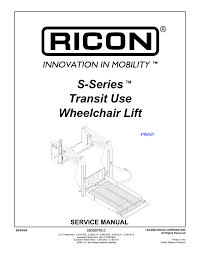 s series transit use wheelchair lift Ricon Lift Replacement Parts Ricon S Series Lift Wiring Diagram #17