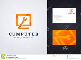business services template computer repair service logo and business card template
