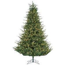 Sterling 9 Ft PreLit Natural Cut Upswept Chesterfield Spruce Pre Lit Spruce Christmas Tree