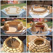 collage of building the dome of the wood fired pizza oven with firebricks
