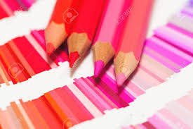Red And Pink Colored Pencils And Color Chart Of All Colors