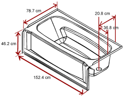 length width and depth of a bathtub