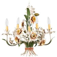 italian tole chandelier with flowers 1920s p a cheery painted italian five light