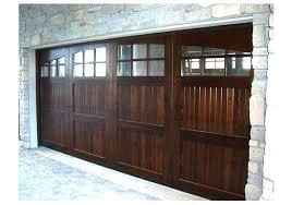 wood garage door panelsThe warm wood look on the garage door  entry door really popped