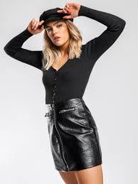 quinn biker mini skirt in black faux leather