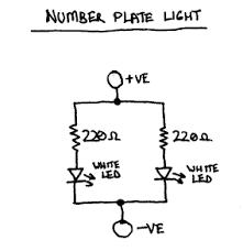 led lighting for 6v vehicles number plate light circuit