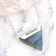 labradorite triangle pendant sterling silver necklace