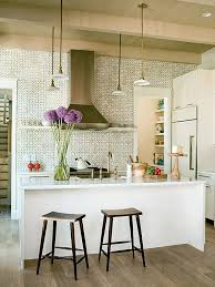 View in gallery Traditional white kitchen with purple flowers