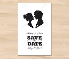 Save The Date For Wedding Save The Date Wedding Invitation With Profile Silhouettes Of