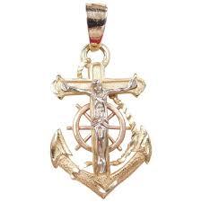 vintage 14k gold tri color mariners cross pendant