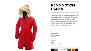 the canada goose kensington parka is shown on the canada goose website the company is suing sears for its knock off version cbc
