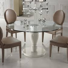 designer italian leather dining chair and glass dining table set within round glass dining table set