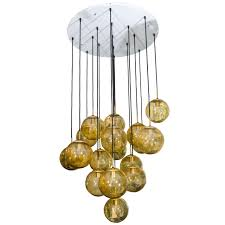 glass globe chandelier by limburg glashütte germany for