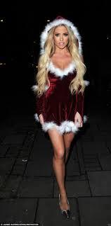 Bianca Gascoigne slips into sexy Santa mini dress for strip club.