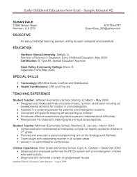 Preschool Teacher Resume Objective Examples Early Childhood Education Resume Objective Shebs Pinterest 4
