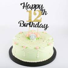Number 1 Birthday Cake Designs Lveud Happy Birthday Cake Topper Black Font Golden Numbers 12th Birthday Happy Cake Topper Birthday Party Decorations 12th