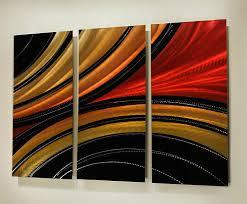 modern abstract aluminum metal wall art painting red gold black sculpture decor