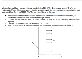 a large plane wall has a constant thermal conductivity of 5 3 w m k