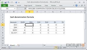 Excel Formula Cash Denomination Calculator Exceljet
