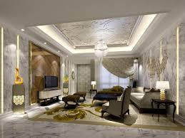 Modern Contemporary Home Living Room With White Sofa And Table Also  Chandelier In White Decorative Ceiling ...