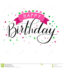 happy birthday pink and green happy birthday hand written pink green lettering stock vector