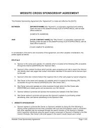 sponsorship agreement website cross sponsorship agreement template sample form