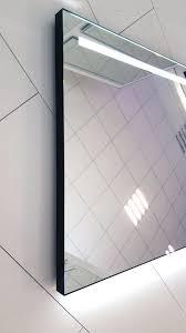 Stoere Badkamer Spiegel Met Fraai Mat Zwart Frame Verlichting En