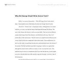 why did george orwell write animal farm gcse english marked  document image preview