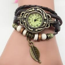 Women's Casual <b>Vintage</b> Multilayer <b>Leaf Faux</b> Leather Bracelet ...