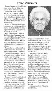Lucy Frances (Cotton) Summers obituary - Newspapers.com