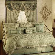 golden brushed steel pipe daybed with green beige fl pattern bedding comforter one set with dry