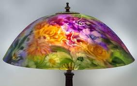 painted lamp shades purple flower lamp reverse painted glass lamp shades antique painted lamp shades reverse