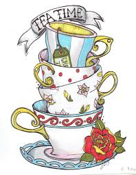 vintage tea cups drawing. Contemporary Cups Stacked Teacups Drawing Print By TheOffbeatArtist On Etsy Tea Cup Drawing  Vintage Coffee Shops Throughout Cups A