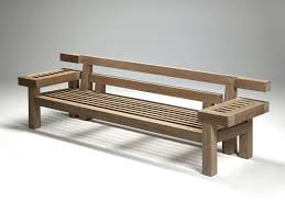 garden bench  contemporary  teak  with backrest  nar  by