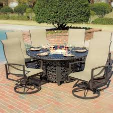interesting large round patio dining sets acadia 6 person sling patio dining set with fire pit table free