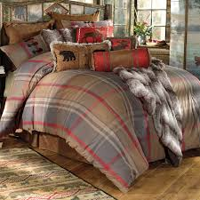 rustic bedding king size mountain trail plaid moose bear bed set black forest decor