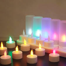 Flameless Candle Plug In Night Light 12pcs Rechargeable Colorful Flameless Flickering Tea Candle Light Holder Uk Plug Ac220v