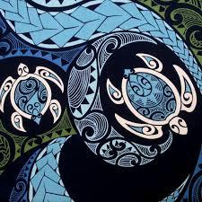 Fabric, Hawaiian Honu Sea Turtle Swirl, Polynesian Tapa Tattoo ... & Fabric, Hawaiian Honu Sea Turtle Swirl, Polynesian Tapa Tattoo Designs,  Blue and Green, By The Yard. Turtle Quilt ... Adamdwight.com