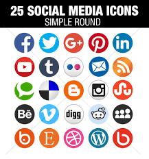 round social media icon.  Round Flat Round Social Media Icons Inside Icon C