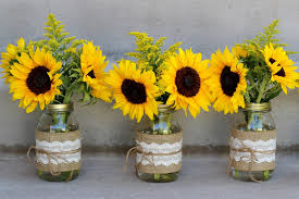 Decorating With Mason Jars And Burlap Summery Sunflowers Michelle James Aster Jute And Sunflowers 35