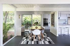 san francisco west elm kilim rug with modern table tops dining room midcentury and floor to