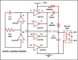 12v to 24v dc converter circuit using hex inverter ic cd4049 12v to 24v dc converter circuit diagram