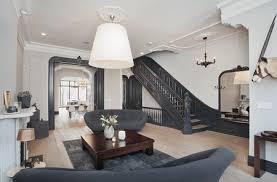 gray living room with black trim