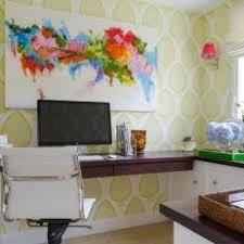 colorful home office. colorful home office includes mechanized sittingstanding desk