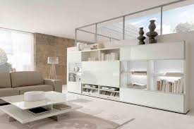 high gloss white coffee table with illuminated white bookcase