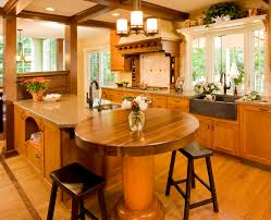 Outstanding Glossy Natural Brown Kitchen Island With Seating And Round  Padestal Kitchen Desk And Two Backless Wooden Sadle Barstool On Laminate  Wood Floors ...
