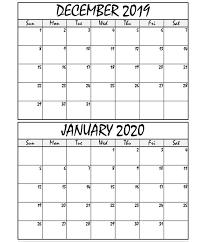 Printable Calendar December 2019 January 2020 Welcome To