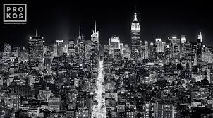 chrysler building at night black and white. a panoramic cityscape of the buildings midtown manhattan and empire state building at night chrysler black white