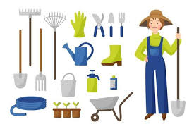 gardening tools in flat style isolated
