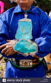 santa fe new mexico united states navajo man with large turquoise jewelry